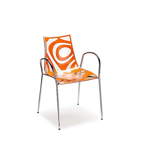 Scab Set 2 Design Wave Chaise avec Accoudoirs Orange-Transparent