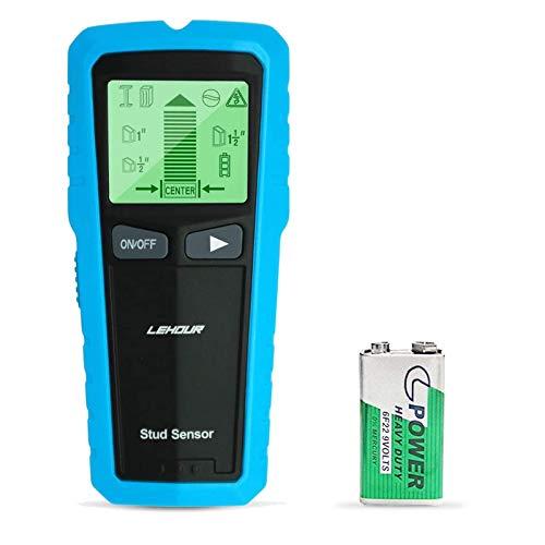 LEHOUR Detector de Pared, Stud Finder con 5-en-1 Metal AC Alambres Escáner de Madera con Pantalla LCD Retroiluminada para Detecta AC Cable, Azulejos, Metal Tuberías Madera y AC Cable