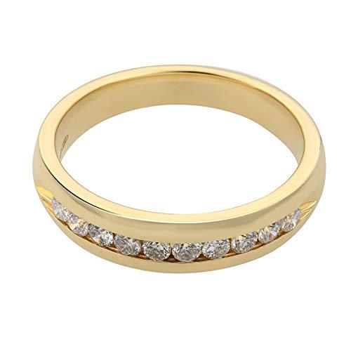 Rachel Koen - Anillo de boda de diamantes de oro amarillo de 14 quilates, talla 10