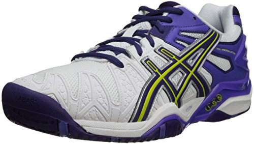 ASICS Women's Gel-Resolution 5, White/Purple/Lavender, 6 M US