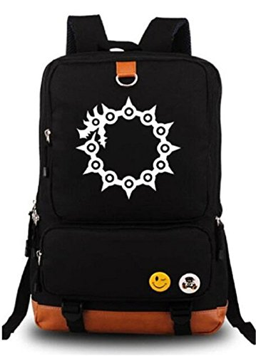 Gumstyle Anime The Seven Deadly Sins Luminous Large Capacity School Bag Cosplay Backpack Black and Blue