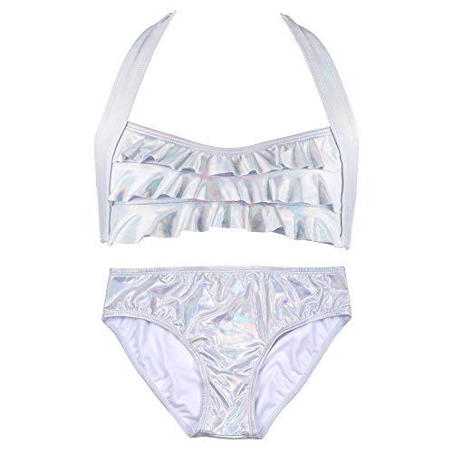 Fin Fun Sea Wave, Mermaid Bikini Set, Iridescent White, Girl's Large