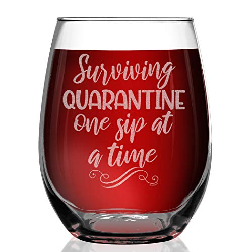 Shop4Ever Funny Wine Glass Surviving Quarantine One Sip At A Time Engraved Stemless Wine Glass Social Distancing Drinking Glass for Mom
