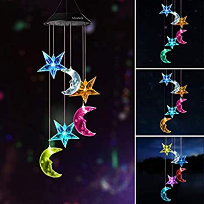 Mosteck Wind Chimes Outdoor Solar Moon & Stars Wind Chime Lights Color Changing LED Mobile Wind Chime Best Birthday Gifts for Mom, Hanging Decorative Romantic Patio Lights for Yard Garden Home Party