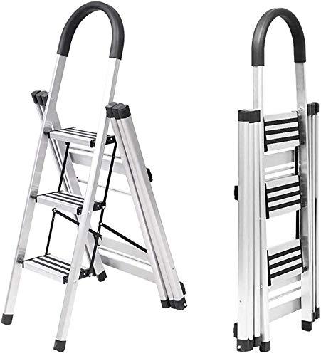 GBX Taburete Plegable Fácil Y Multifunción Conveniente, Escalera Plegable para el Hogar Estante de Secado Escalera Gruesa de Aleación de Aluminio Escalera Móvil para Interiores con Pasamanos de Segur
