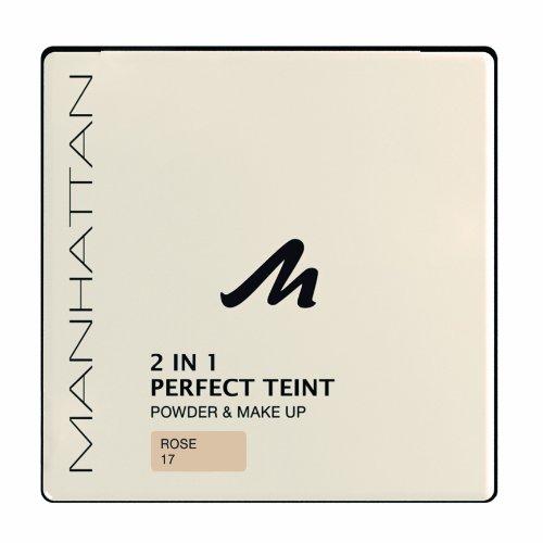 Manhattan 2 in 1 Perfect Teint Powder – Puder und Make-up in einem für einen absolut ebenmäßigen Teint – Farbe Rose 17 – 1 x 9g