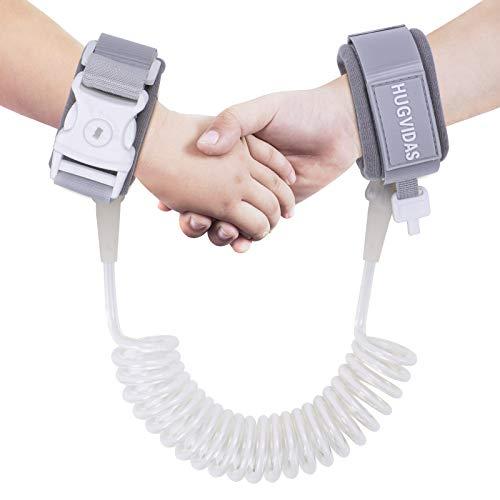 HUGVIDAS Anti-Lost Wrist Strap, Child Safety Belt with Key Lock, Breathable Toddler Traction Belt, Anti-Lost Wrist Strap (6.5 feet), White