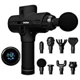 Deep Tissue Percussion Massage Gun - Quite Pure Wave Handheld Massager - 8 Heads - 5200 mAh - 9 Speeds, 1800-3500 Percussions, 12mm Amplitude - Perfect for Fascia, Joint and Muscle Pain - Black