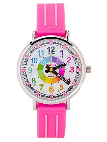 KIDDUS Montre Bracelet Éducative pour Enfants, garçon. Time Teacher Analogique avec Exercices. Facile d'Apprendre à Lire l'Heure. Aiguilles Écrites. Rose