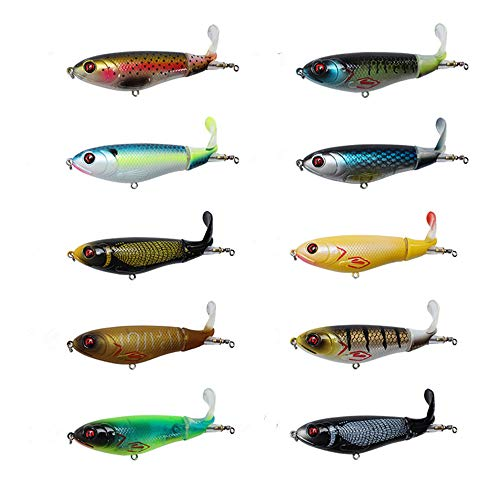 "DOITPE Topwater Fishing Lures 4.0""/0.46oz Bass Lures with Floating Rotating Tail Fish Bait Lures for Bass,Pike,Trout,Walleye,Musky in Freshwater and Saltwater (Combo AA(10pcs))"