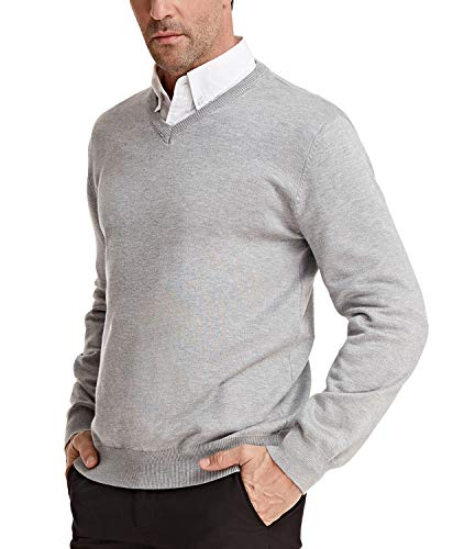 Men's Knitted Sweater Stylish V Neck Long Sleeve Size L Light Grey