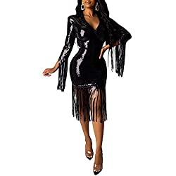 Black-03942 Sheer Dress with Sequin Tassle Sleeves