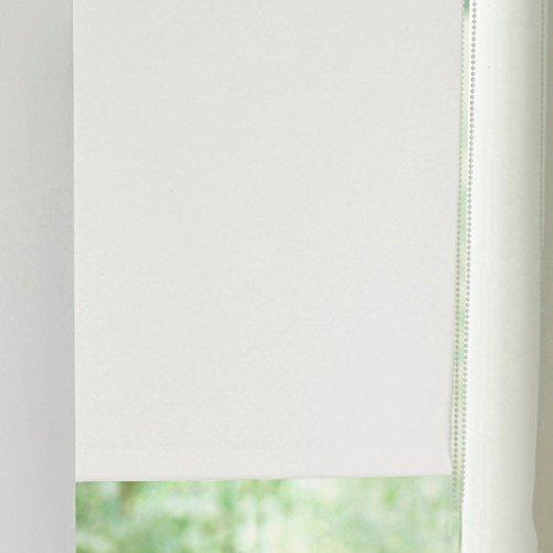 MADECOSTORE Store Enrouleur Occultant Easy Uni Blanc perle - L32 x H170cm - Sans perçage