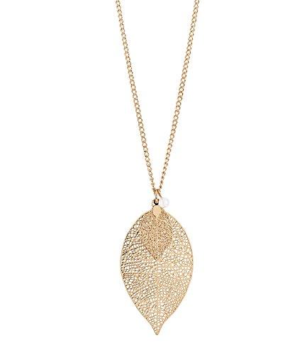 SIX Halskette: Lange Gliederkette mit Blatt-Anhänger Frauen & Mädchen - Hochwertige Kette mit Anhänger » elegant & edel « längenverstellbar - Schmuck goldfarben (421-624)