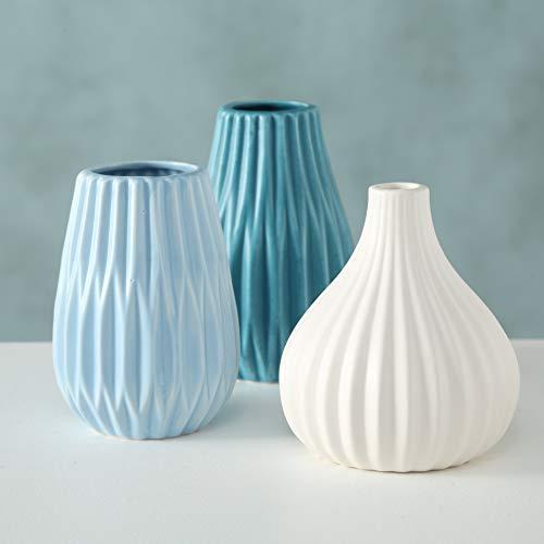 mucplants 3er Set Vasen blau Höhe bis ca. 12cm Dekovasen Blumenvasen Tischvasen Steingut Blumen