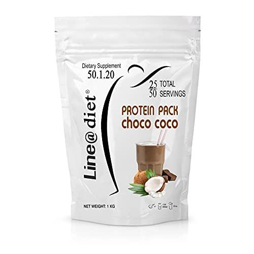 PROTEIN PACK Shake 1 kg COCCO CIOCCOLATO   whey protein shake line@diet   da 25 a 50 porzioni con il 75% di PROTEINE per sportivi e per rimettersi in forma (50 Snack / 33 Pasti)