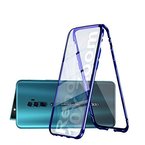 HaptiCase Cover per Oppo Reno 10x Zoom Magnetica Adsorbimento Tech Custodia Anteriore e Posteriore Trasparente Vetro Temperato Case Metallo Alluminio 360 Gradi Full Body Protezione Case - Blu