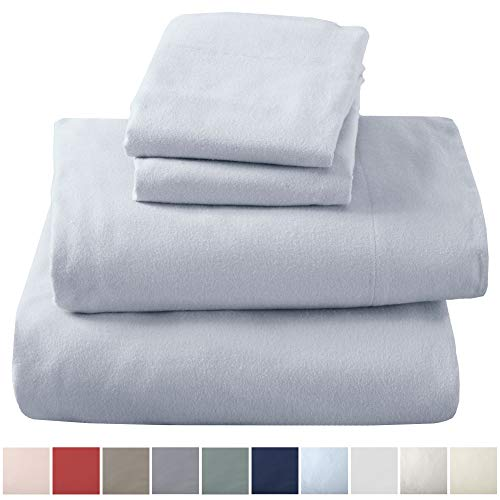 Great Bay Home Extra Soft 100% Turkish Cotton Flannel Sheet Set. Warm, Cozy, Lightweight, Luxury Winter Bed Sheets in Solid Colors. Nordic Collection (Full, Pearl Blue)