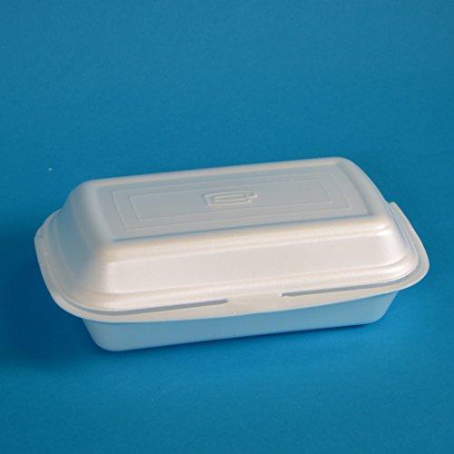 500 Menüboxen Lunchboxen Nudelboxen Imbissboxen Warmhalteboxen Doppelburgerbox weiß geschäumt EPS groß 245x145x80mm - Inkl. Verpackungslizenz in D