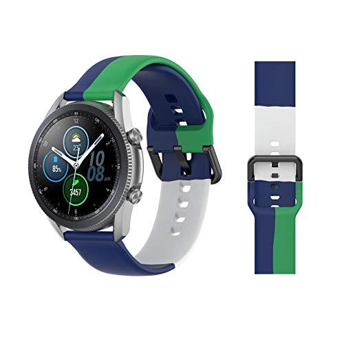Sarari 22 mm Universal Transpirable Silicona Reloj Deportivo Pulsera Tri-Color Smart Watch Correa Compatible para 22 mm tradicional Smart Watch