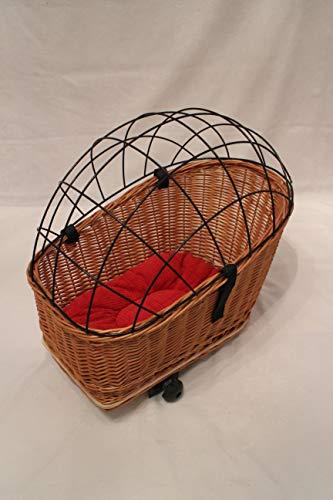 Marcus Hundefahrradkorb XL für Gepäckträger aus Weide mit Metallgitter und Kissen Gepäckträgerkorb Einkaufskorb Katzenkorb Weidenkorb Hundekorb