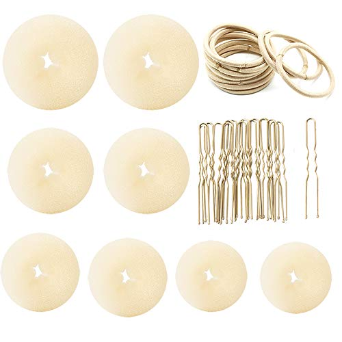 Hair Bun Maker,Donut Bun Maker Ring Style Hair bun maker set with 18 Bobby Pins &10 Elastic hair tie bands&8 Bun For Chignon Hair Styles (2 Small 2 Medium 2 Large 2 Extra-large) (Blonde)