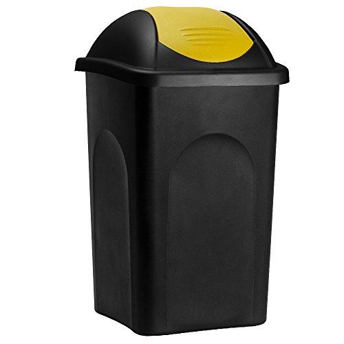 Poubelle 60 litres - Avec couvercle - Collecteur de déchets - Noir/jaune