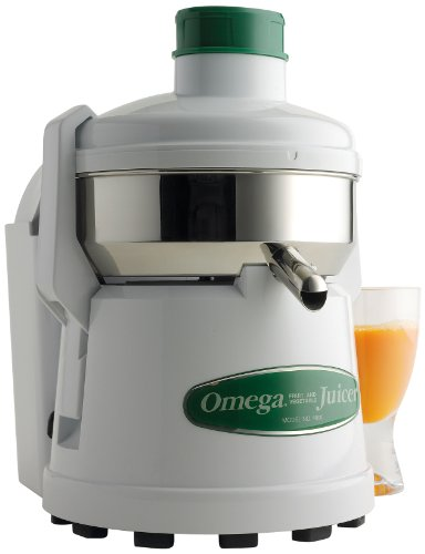 Omega J4000 High Speed Pulp Ejection Juicer 1/3 HP Juices Vegetables Citrus and Fruits at 3500 RPM Surgical Stainless Steel Parts and Stainless Steel Blade, 250-Watts, White