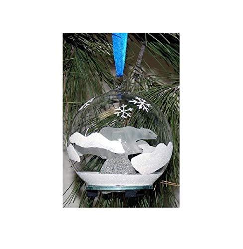 StealStreet SS--HD-0306, 4 Inch Diameter Light Up Glass Ornament-Frosted Polar Bear - UG SS-UG-HD-0306