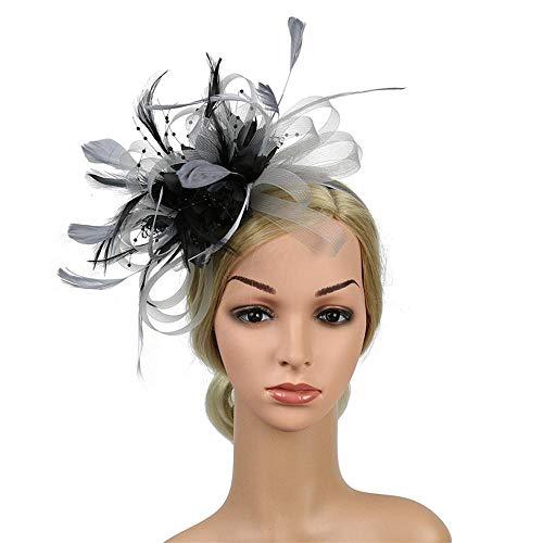 Banquet Feather Hair Pins Headdress Wedding Party Bridal Tiara Women Fascinators Clip Ladies Accessory Wedding Women-Gray_Black
