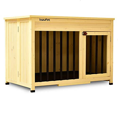 Lovupet No Assembly Wooden Portable Foldable Pet Crate Indoor Outdoor Dog Kennel Pet Cage with Tray 0650 (Large) Dog Houses