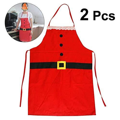 BERYLX Grembiule da Babbo Natale Decorazione Natalizia per Adulti per Cucina Domestica Grembiule da Cuoco, 2 Pezzi