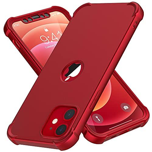 "ORETECH Funda Compatible con iPhone 12 Mini, con [2X Protector de Pantalla de Vidrio Cristal Templado] 360 Antigolpes Suave Silicona TPU Hard PC Carcasa Bumper Case Caso para iPhone 12 Mini 5.4""-Rojo"