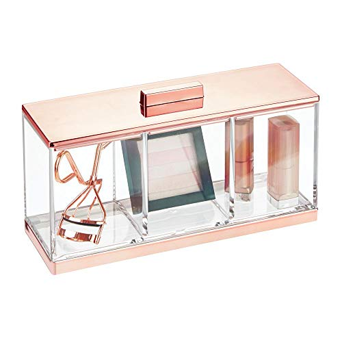 mDesign Piccolo organizer bagno con coperchio – Valigetta trucchi elegante con 3 scomparti – Portaoggetti per bagno per rossetti, smalti, spugnette ecc. – trasparente e oro rosato
