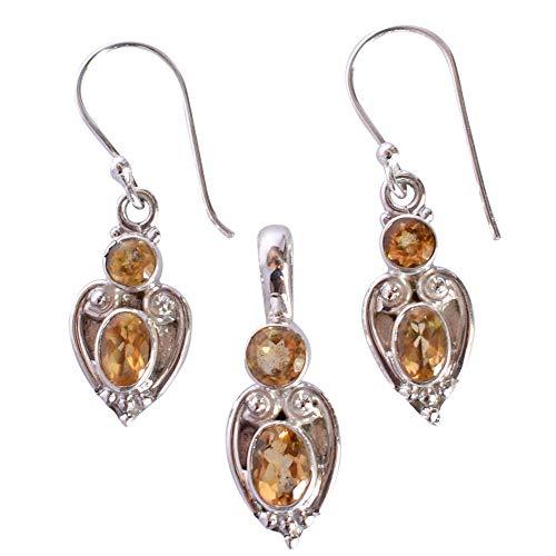 Fabuloso juego de pendientes de cuarzo con colgante de citrino y plata de ley 925 maciza, regalos para mujeres, el mejor precio FSJ-3198