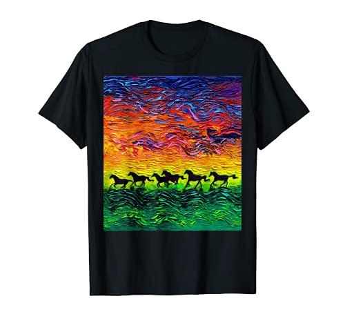 Caballos Running Silhouette Noche estrellada Arte occidental por Aja Camiseta