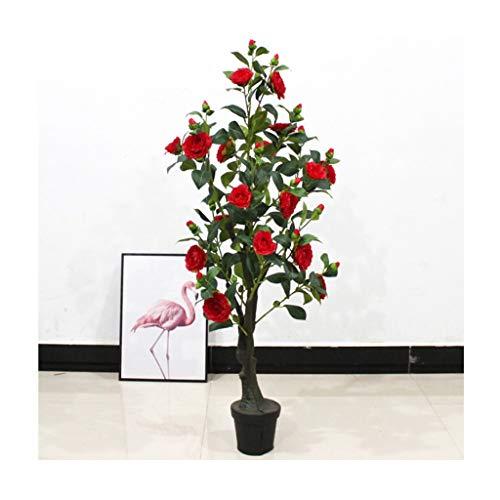 Árbol artificial realista Artificial 125cm Árbol de camelia Bonsai Decoración interior Flores falsas Plantas artificiales Plástico Árbol falso Plantas falsas Verdor Fácil de limpiar ( Color : Red )