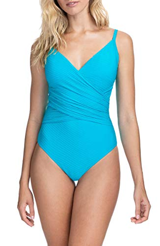 Profile by Gottex Women's Surplice One Piece Swimsuit, Ribbons Turquoise, 12