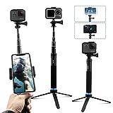 AuyKoo Palo Selfie Stick para Gopro, Mini Soporte de trípode para cámara acción, Monopie de empuñadura para GoPro Hero 8/7/6/5/4/3, Fusion, Session, DJI OSMO Action Camara