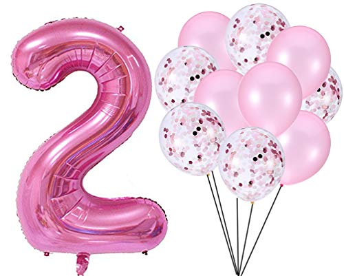 PartyMart Pink Number 2 Balloon Confetti Balloons