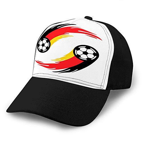 shdgfhdfghdf 410 Hut Baumwolle Baseball Cap Plain Cap Verstellbare Kappe Fußball oder Fußball mit Feuerschwanz in Deutschland Flagge Sun Hats