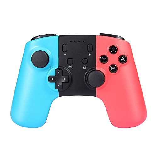 Manette de Jeu Professionnelle sans Fil pour Nintendo Switch, Delymc PS10 Bluetooth Gamepad Joypad pour Console Nintendo Switch Supporte Gyro Axis et Double Vibration – Bleu et Rouge (Produit tierc)