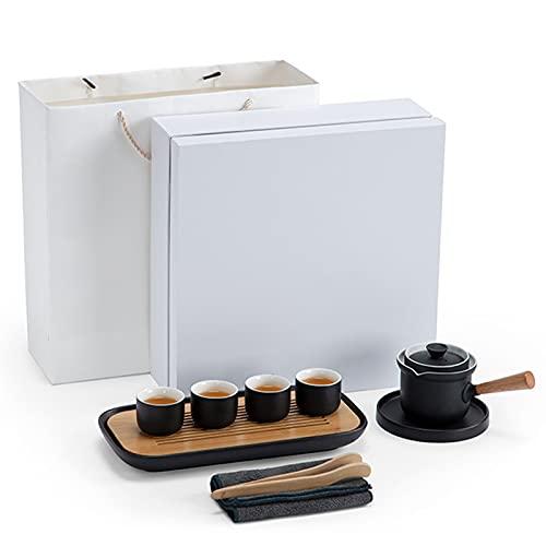 LTLWSH Tea Set, Teapot Sets Chinese Handmade Teapot Healthy Ceramics Teapot with Filter, Tea Tray, Tea Storage Tank and 4 tea cups, Good Business Gifts,Without tea cans