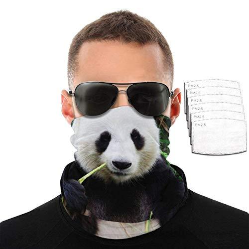 Lily-Shop Pand-a Gigante Comiendo bamb Unisex Polaina para el Cuello Protector Facial, pasamontaas para la Cabeza, Bandana a Prueba de Polvo, Diadema