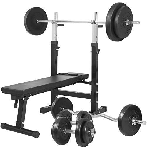 Gorilla Sports Banc de Musculation GS006 + Set haltères disques en Plastiques et Barres 97,5KG