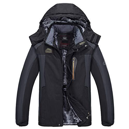 HJHHJHAB Männer wasserdichte Bergjacke warme Fleece Wandern Mantel Winddichtes 3-in-1 Winterjacke Thick Breath Regen Jacke Skijacke,Black-3XL