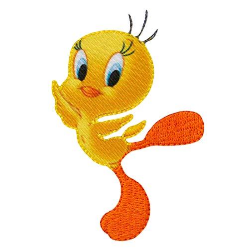 Looney Tunes Tweety – amarillo - Parches termoadhesivos bordados aplique para ropa, tamaño: 7,7 x 5,1 cm