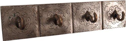 Guru-Shop 4èr Vintage Wandhaak met Messing Ornamenten, Indiase Kapstok, 9x39x4 cm, Wandhaken van Hout, Metaal Keramiek