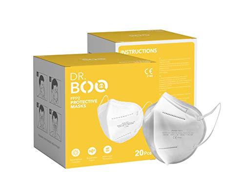 20 FFP2 Maske CE Zertifiziert mit EN 149:2001, Mund- und Nasenschutz 5 Lagige Masken ohne Ventil, Staub- und Partikelschutzmaske, Medizinische Schutzmaske mit Hoher BFE-Filtereffizienz ≥ 95, 20 Stück