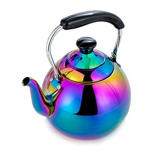 ROYDOM Whistling Tea Kettle Stainless Steel Teapot Rainbow Teakettle for Stovetop Induction Stove Top Fast Boiling Heat Water Tea Pot Maker 2 Quart 68 Ounce Mirror Polished